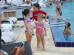 Even the babies got out the pool to take pictures of the models. Their summer vacation should be fun to talk about in kindergarten.